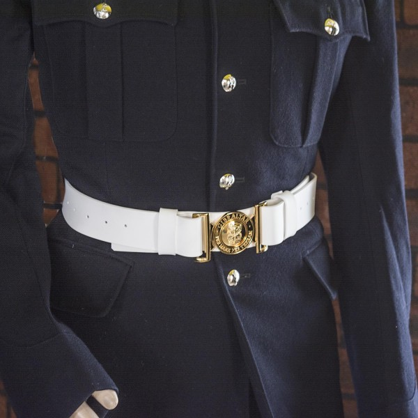Medium - White Sword Belt with Slings - Royal Marines Band Service (RMBS)