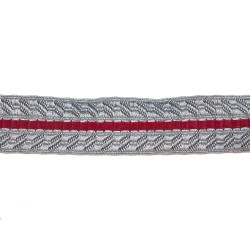 25mm Silver/Grey/Red Metallised Polyester B&S Composite Lace