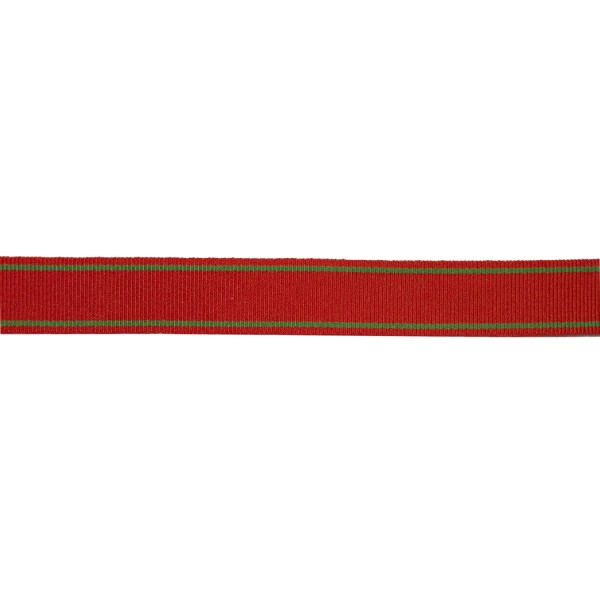 16mm – Red - Green Stripe – Nylon/ Cotton – Ribbon