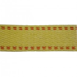 45mm Para Aramid Double Plain Weave Yellow Webbing with Red Stripe