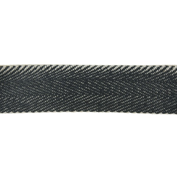 50mm – Black and White – Jute Wrap Upholstery Cotton – Herringbone Webbing