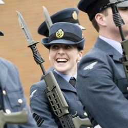 Royal Air Force Officers Share a Joke on Parade